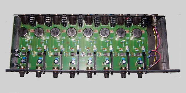 Internal view of 8 channel preamp in 1u rack chassis