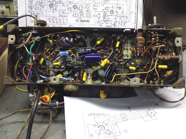 Chassis with many replaced capacitors