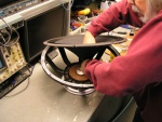 Slipping the cone over the voice coil